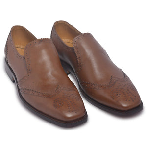 Men Brown Spike Brogue Edges Genuine Leather Shoes