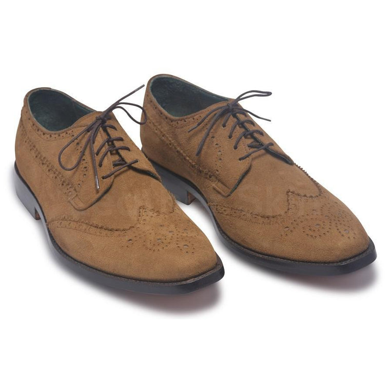 Men Brown Suede Leather Shoes with Laces