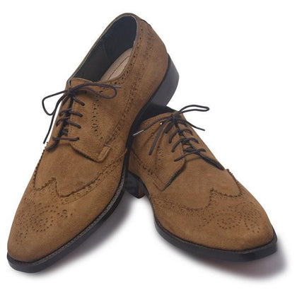 men suede leather shoes in brown color
