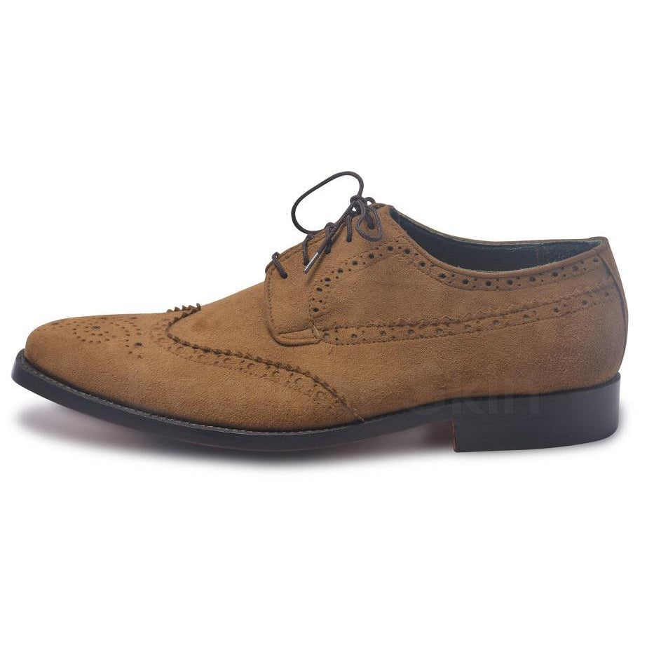 derby leather shoes in brown color