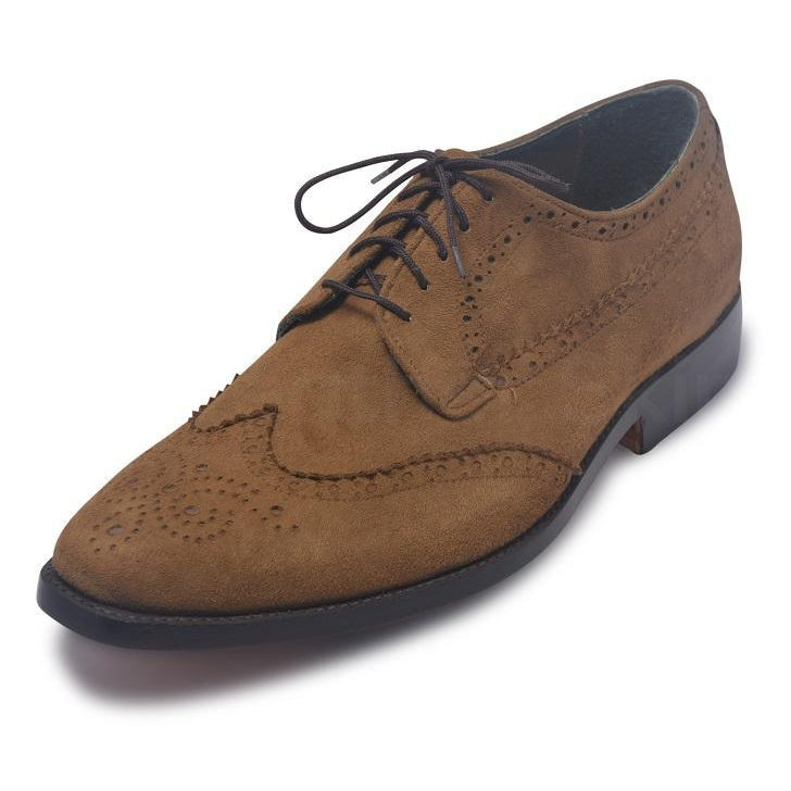 brown wingtip suede leather shoes