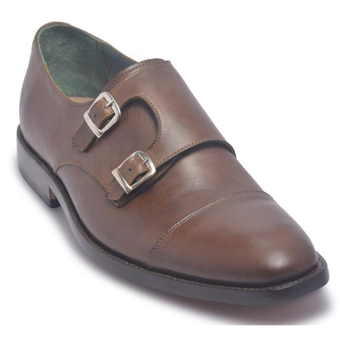 Men Brown Two Monk Strap Genuine Leather Shoes with Cap Toe