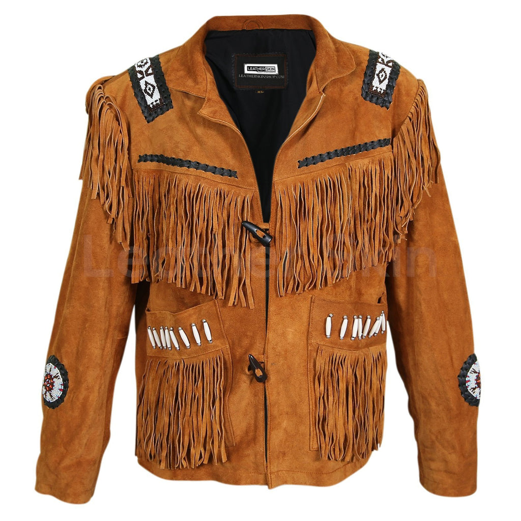 brown western suede jacket mens