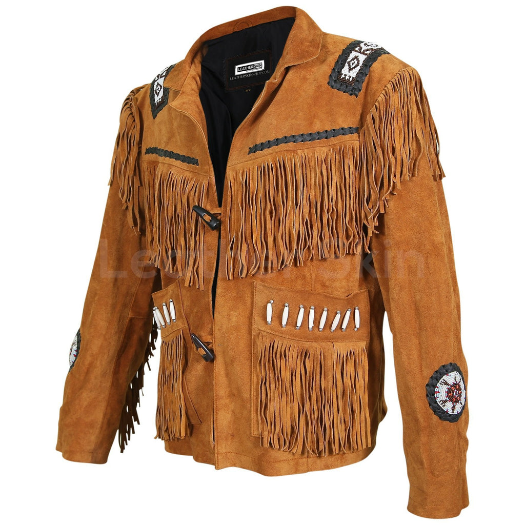 western jacket with beads mens