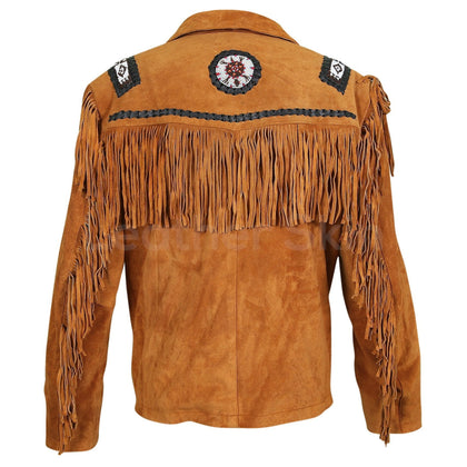 Men Brown Western Fringes with white beads decoration