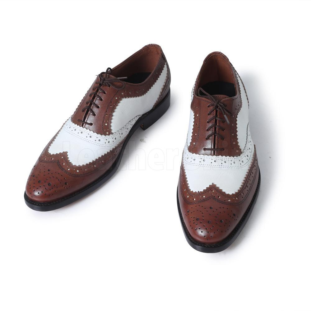 Men Brown White Two Tone Oxford Brogue Wingtip Genuine Leather Shoes