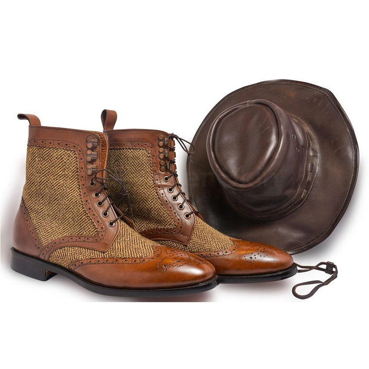 Men Brown Wingtip Brogue Derby Leather Boots