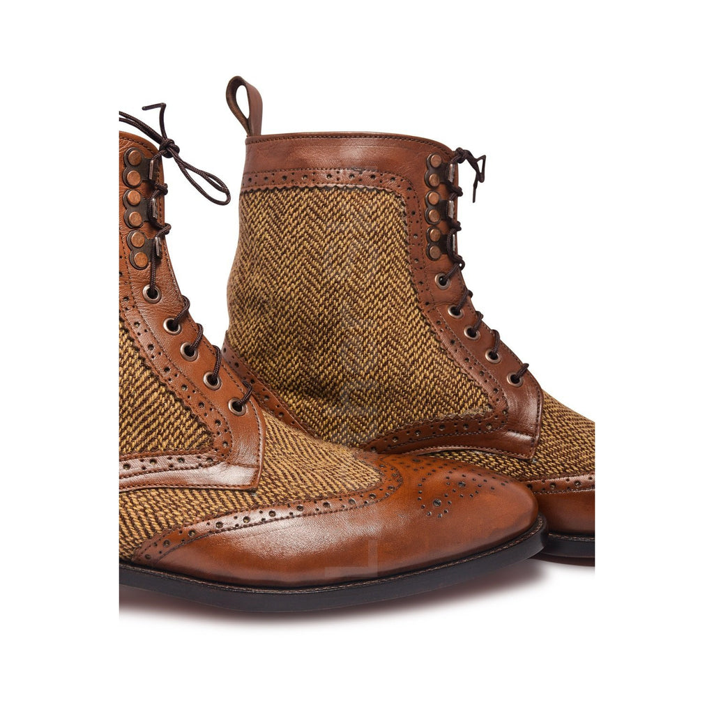 Two Tone Derby Leather Boots