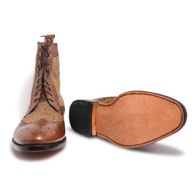 Men Two Tone Derby Leather Boots