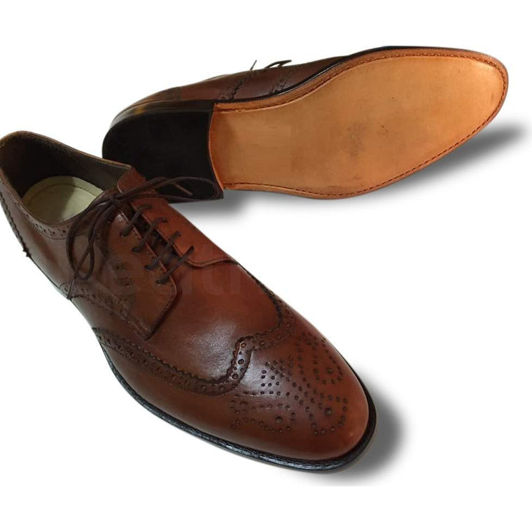 Men Brown Wingtip Brogue Derby Leather Shoes