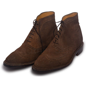 Men Brown Ankle Lace Up Suede Leather Boots