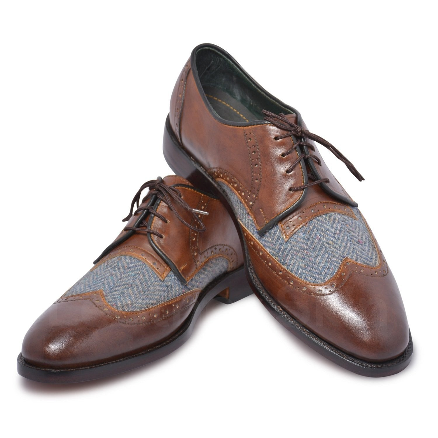 Men Brown Wingtip Derby Leather Shoes with Fabric Herringbone Vamp