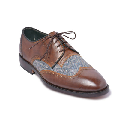 mens brown genuine leather shoes with fabric