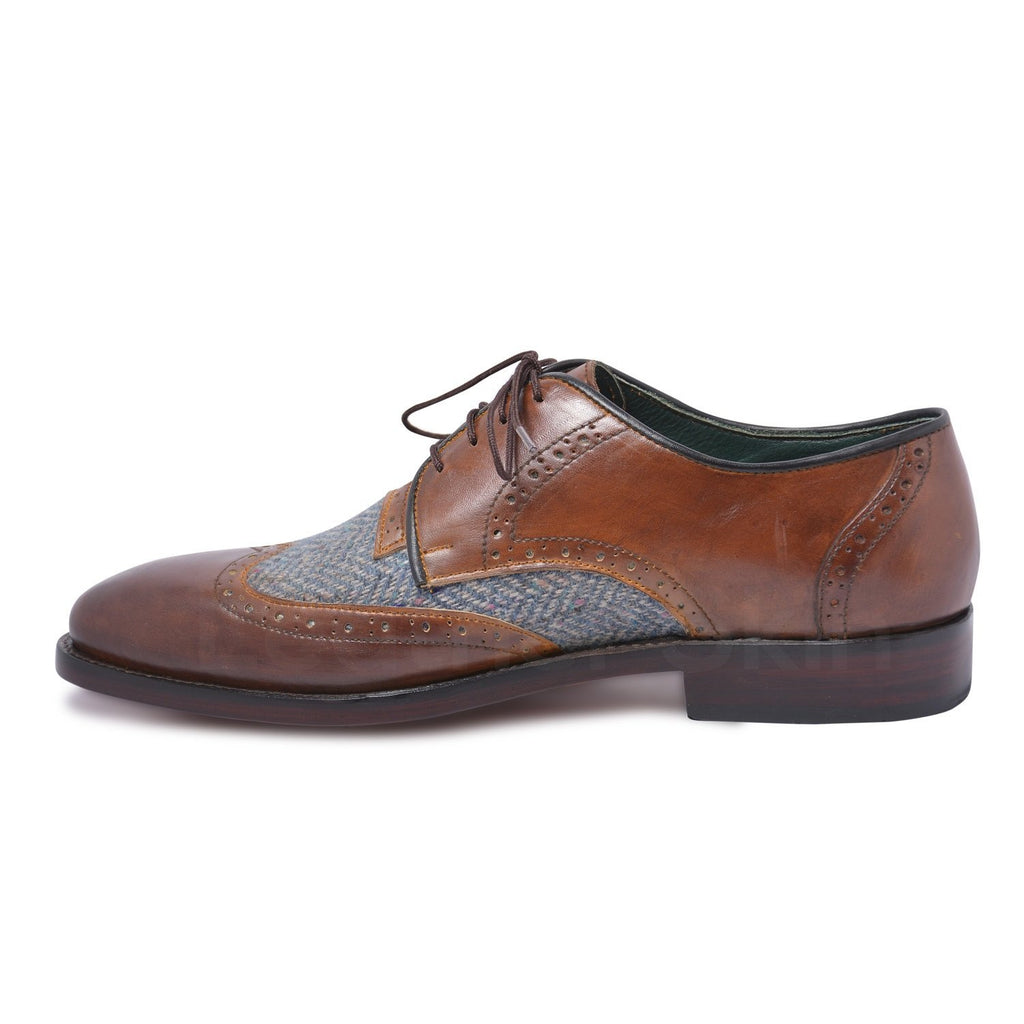 men brown genuine leather shoes derby