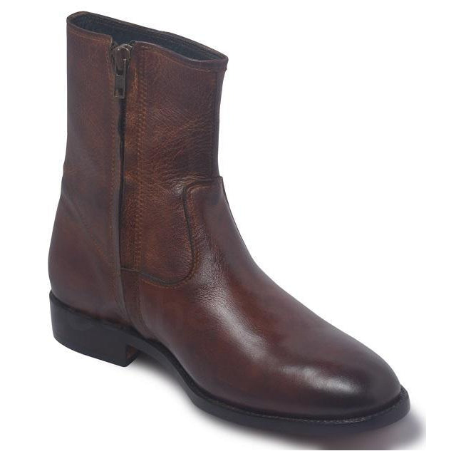 Men Brown Zipper Ankle Genuine Leather Boots