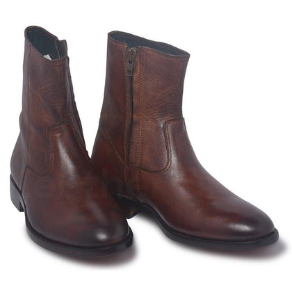 zipped leather boots for men