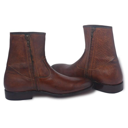 brown zipper leather boots men