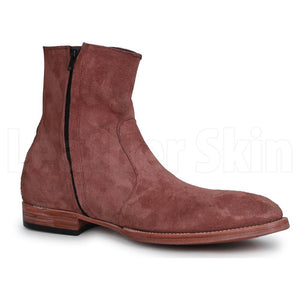 Men Brown Zipper Zipped Suede Leather Boots