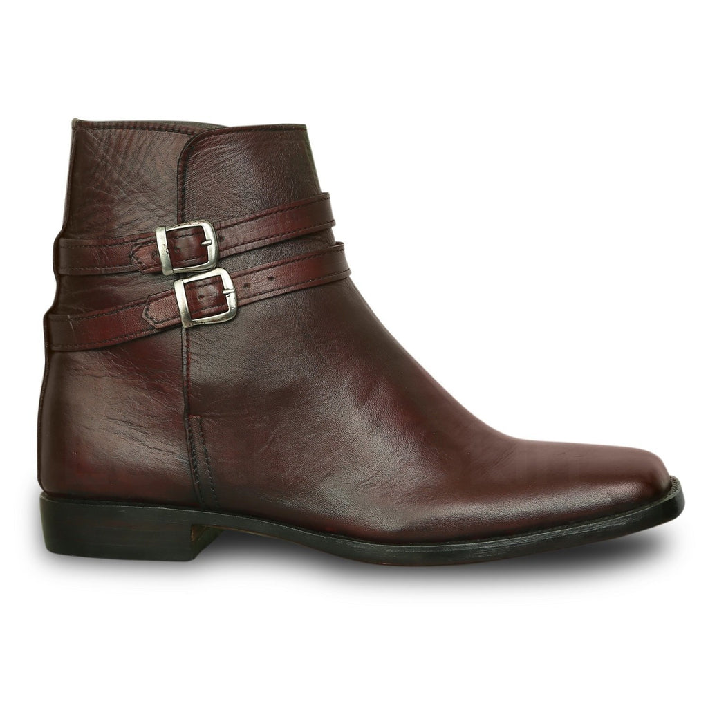 Men Burgundy Jodhpurs Ankle Genuine Leather Boots