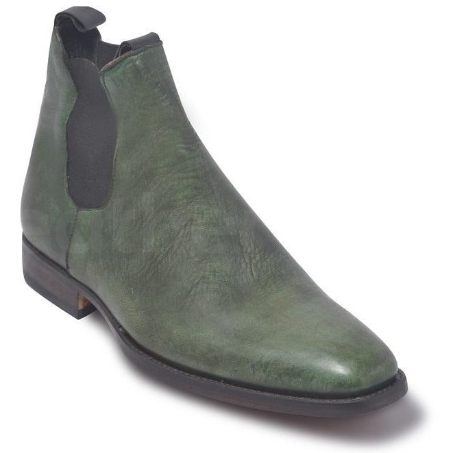 Men Chelsea Army Green Genuine Leather Boots