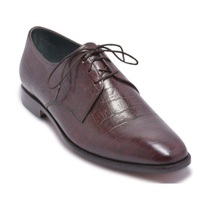 Men Dark Brown Derby Crocodile Texture Genuine Cow Leather Shoes