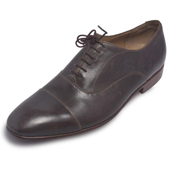 Men Brown Laces Genuine Leather Shoes with Pattern