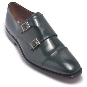 Men Dark Green Monk Strap Cap Toe Genuine Leather Shoes