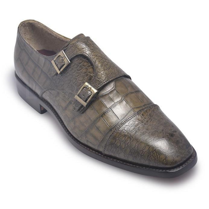 Men Distressed Alligator Pattern Monk Strap Leather Shoes