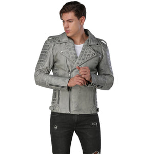 Men Distressed Gray Biker Leather Jacket