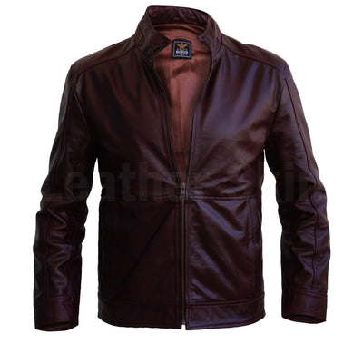 Men Distressed Maroon Red Vintage Genuine Leather Jacket with Front Zipper Closure
