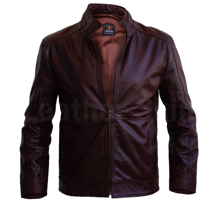2b784604809 Men Distressed Maroon Red Vintage Genuine Leather Jacket with Front Zipper  Closure