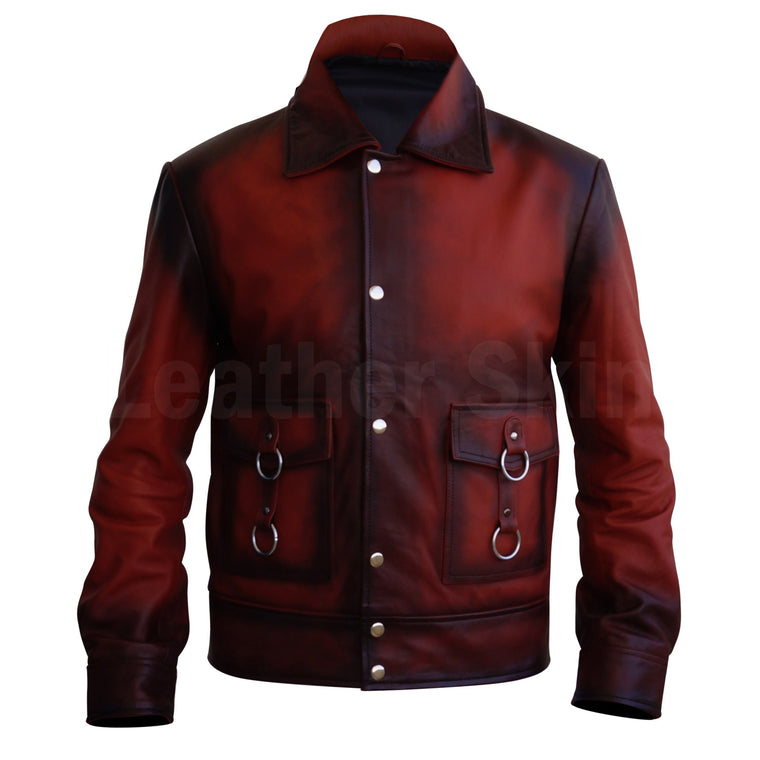 Men Distressed Tan Red Cow Leather Jacket with Metal Hoops Front Zipper Buttons
