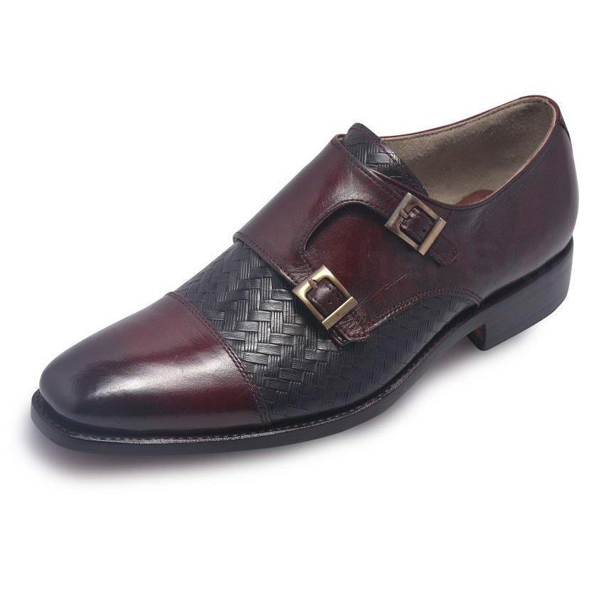 Men Distressed Two Tone Red Black Monk Strap Leather Shoes