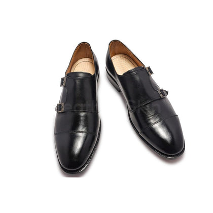 Men Double Monk Black Handmade Genuine Leather Shoes