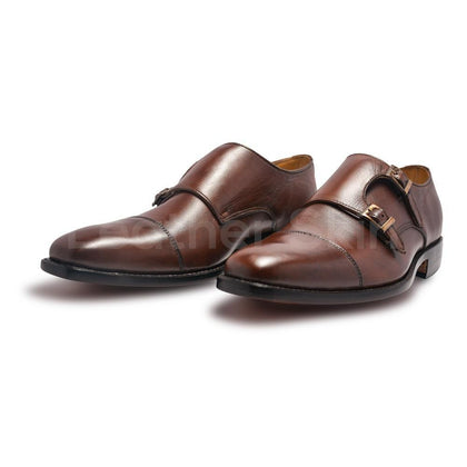 Brown Monk Leather Shoes