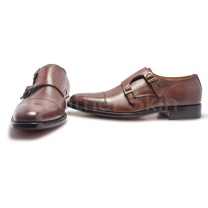 Monk Leather Shoes in Brown Color