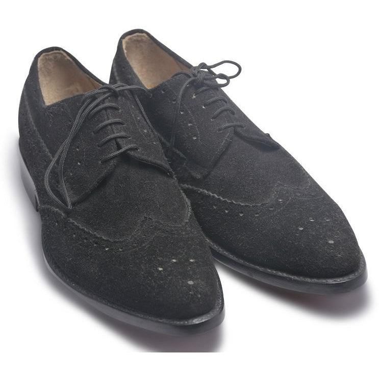 Men Black Brogue Wingtip Suede Leather Shoes