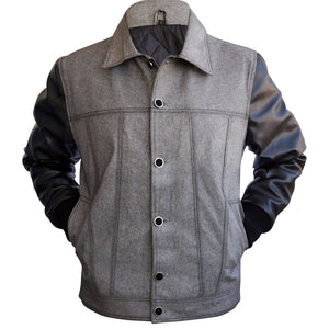 Leather Skin Men Denim Gray Grey Jacket with Black Leather Sleeves