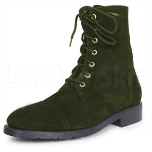 Men Green Hunter Lace Up Military Suede Leather Boots