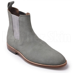 Men Grey Chelsea Suede Leather Boots