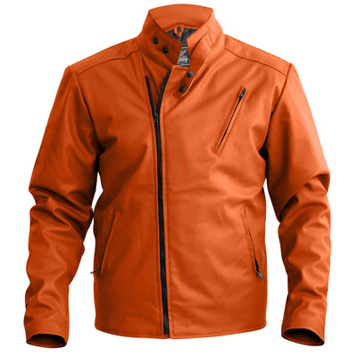 NWT Stylish Orange Men Leather Jacket