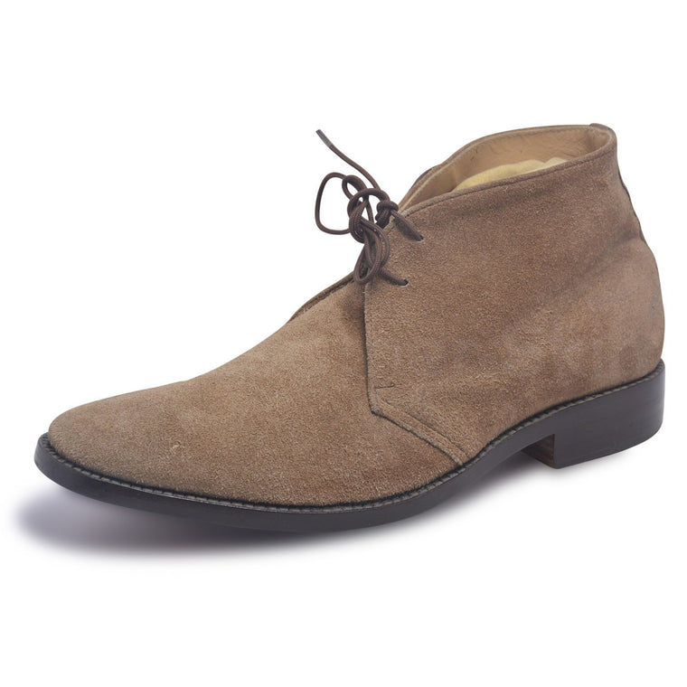 Men Light Brown Chukka Boots Suede Leather with Laces