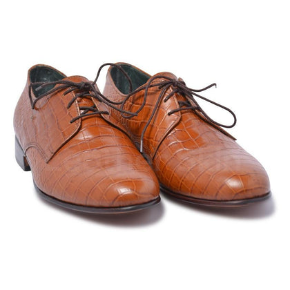 crocodile brown leather shoes