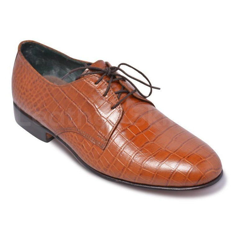 Men Light Brown Crocodile Pattern Derby Genuine Leather Shoes