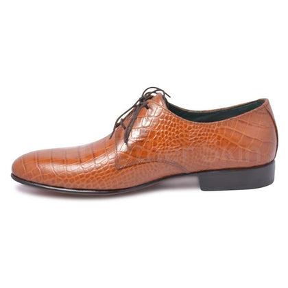 derby brown leather shoes for men