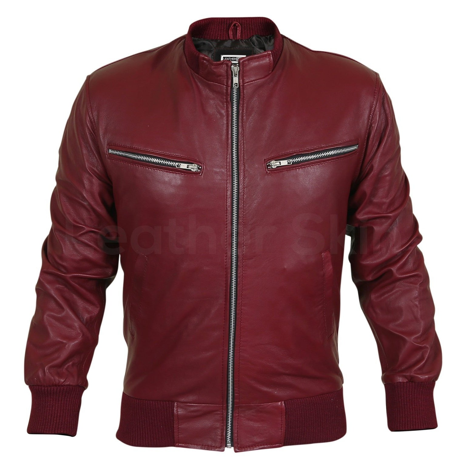 maroon leather jacket mens