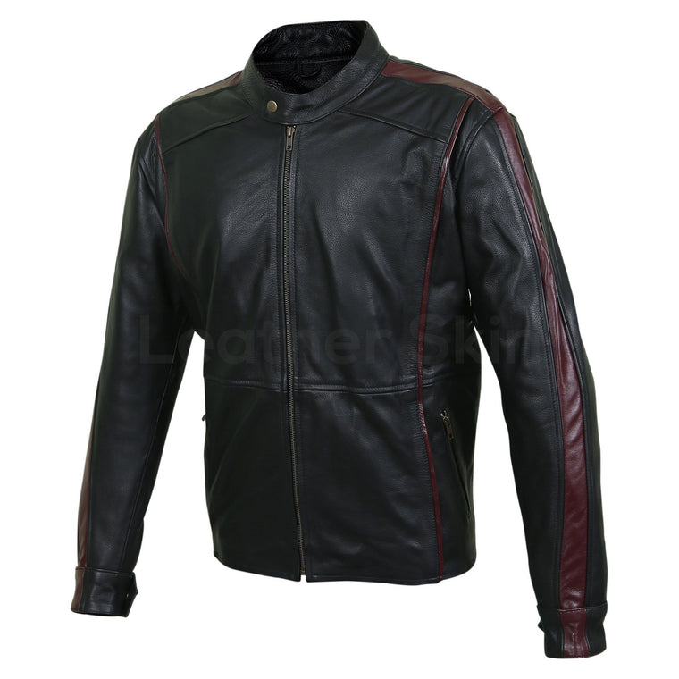 Men Maroon Red Stripe Panels Black Genuine Leather Jacket
