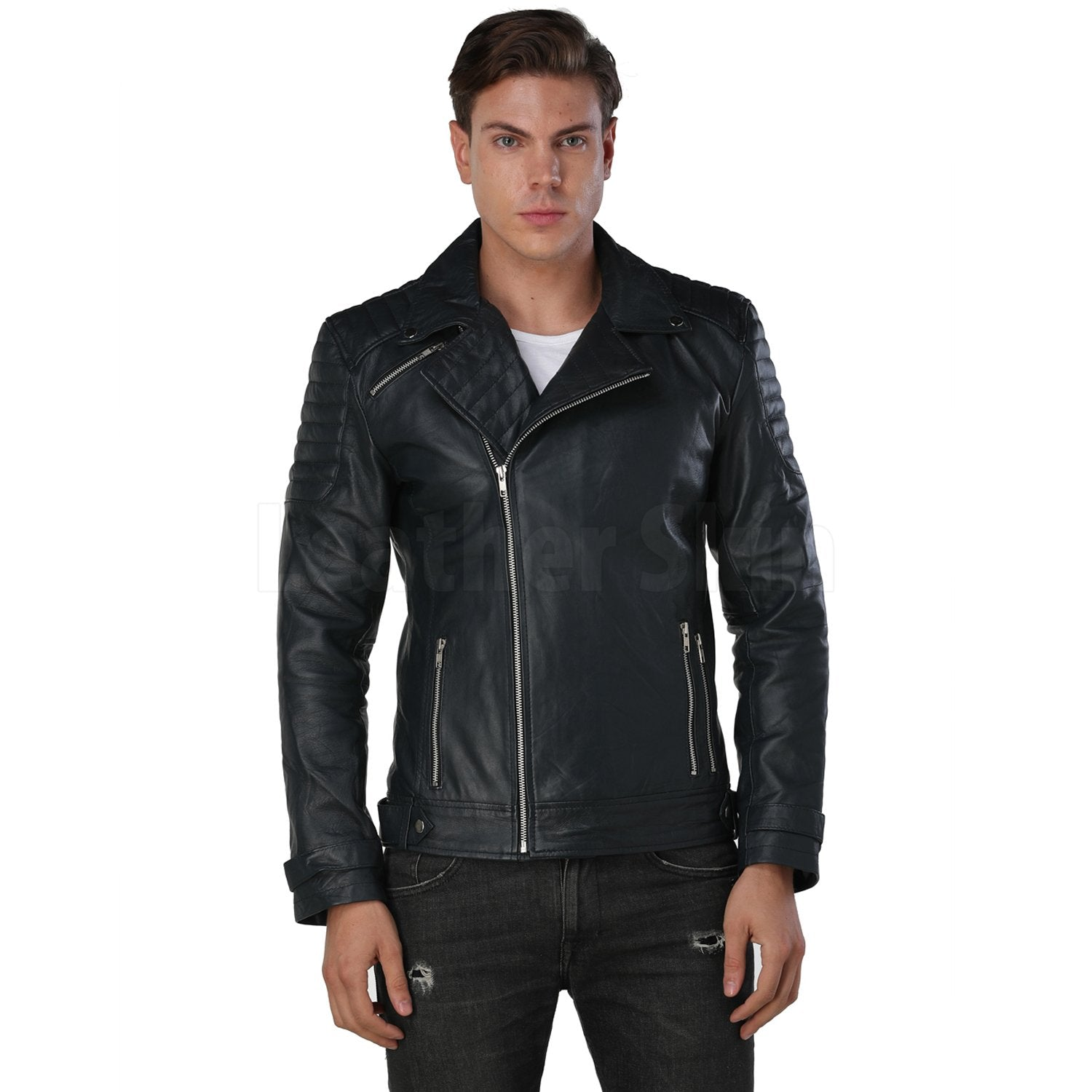 Men Navy Blue Biker Leather Jacket