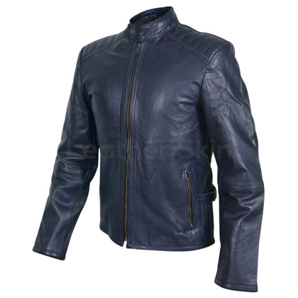 navy blue leather jacket mens