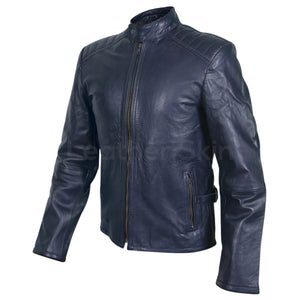 Men Navy Blue Genuine Leather Jacket with Rib Quilted Padded Shoulders